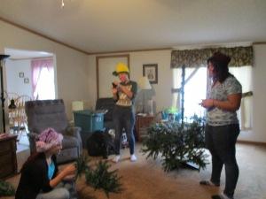 My elves assembling the tree